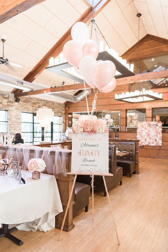 White & Blush Welcome Sign from an Intimate Champagne Blush Baby Brunch on Kara's Party Ideas | KarasPartyIdeas.com (8)