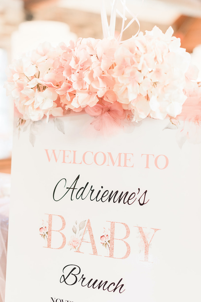 White & Blush Baby Shower Welcome Sign from an Intimate Champagne Blush Baby Brunch on Kara's Party Ideas | KarasPartyIdeas.com (26)