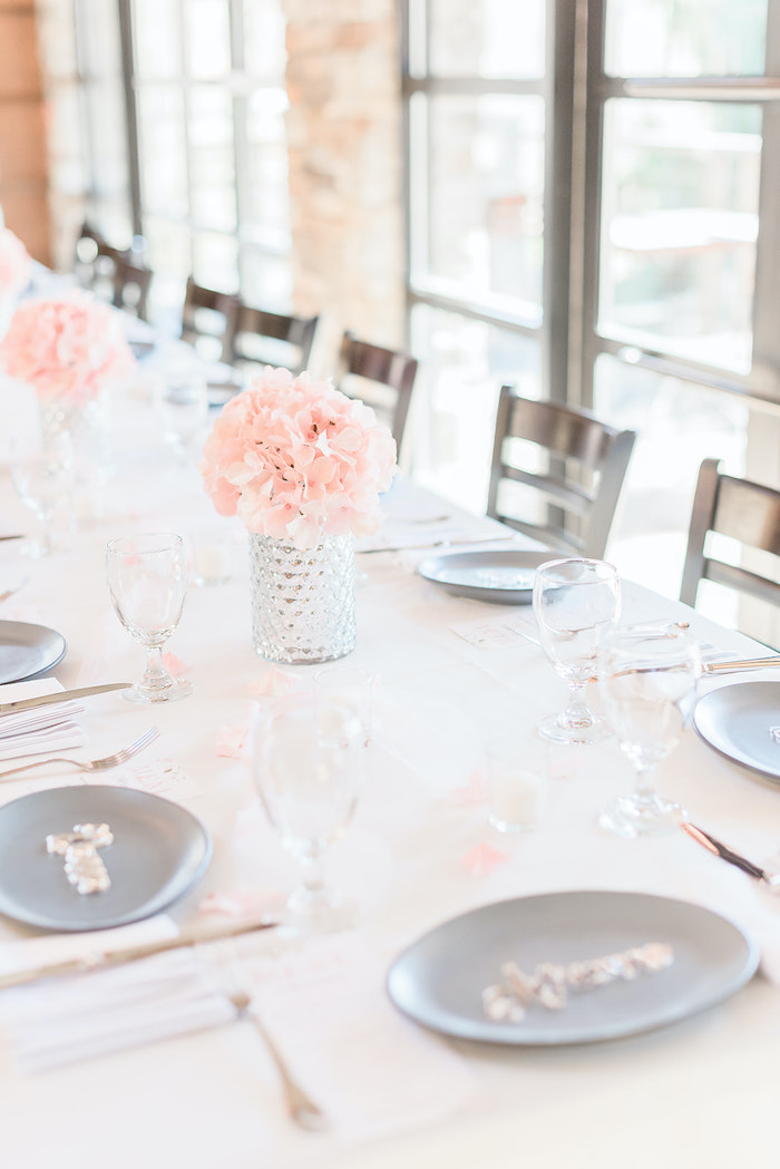 Gray Table Settings from an Intimate Champagne Blush Baby Brunch on Kara's Party Ideas | KarasPartyIdeas.com (25)