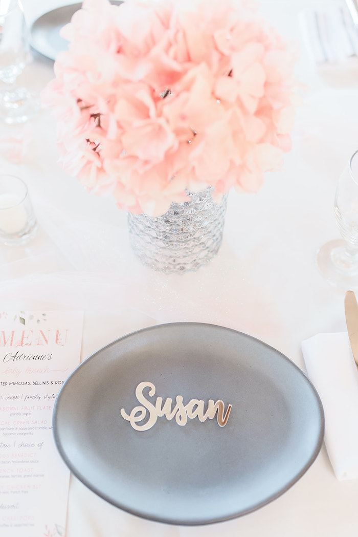 Scripted Place Card Table Setting from an Intimate Champagne Blush Baby Brunch on Kara's Party Ideas | KarasPartyIdeas.com (24)