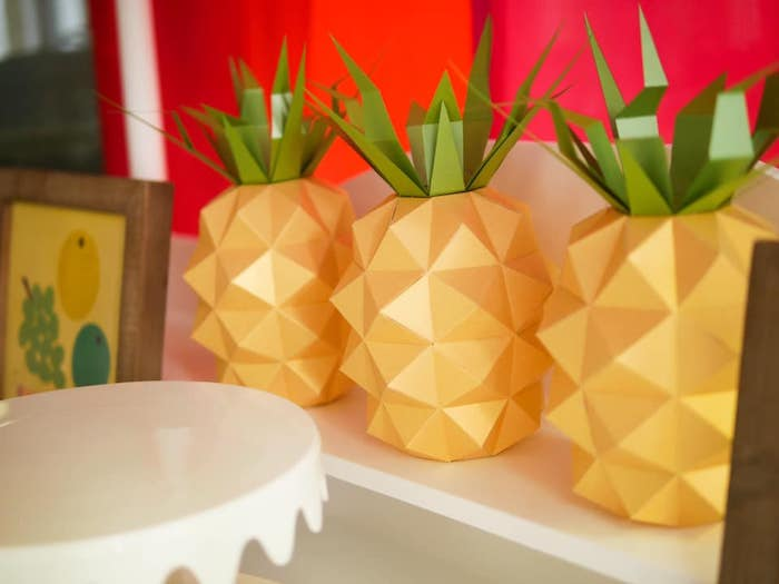 Origami Pineapple from an Origami Tutti Frutti Party on Kara's Party Ideas | KarasPartyIdeas.com (8)