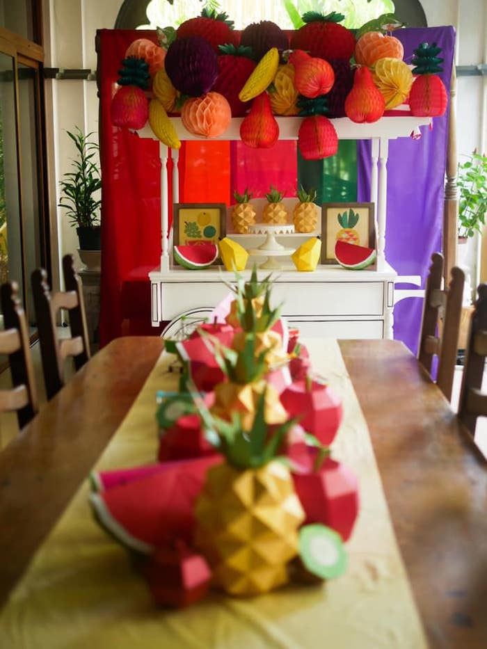 Origami Fruit-lined Guest Table from an Origami Tutti Frutti Party on Kara's Party Ideas | KarasPartyIdeas.com (7)