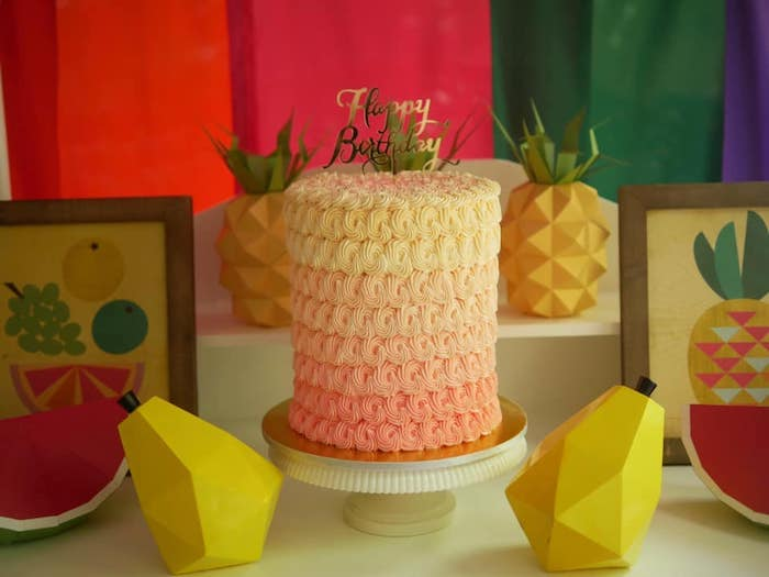 Yellow and Orange Ombre Cake from an Origami Tutti Frutti Party on Kara's Party Ideas | KarasPartyIdeas.com (6)