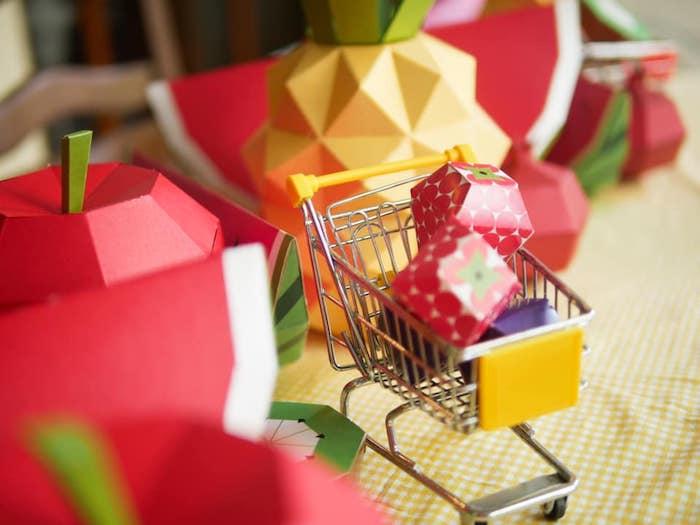 Mini Shopping Cart full of Origami Fruit from an Origami Tutti Frutti Party on Kara's Party Ideas | KarasPartyIdeas.com (5)