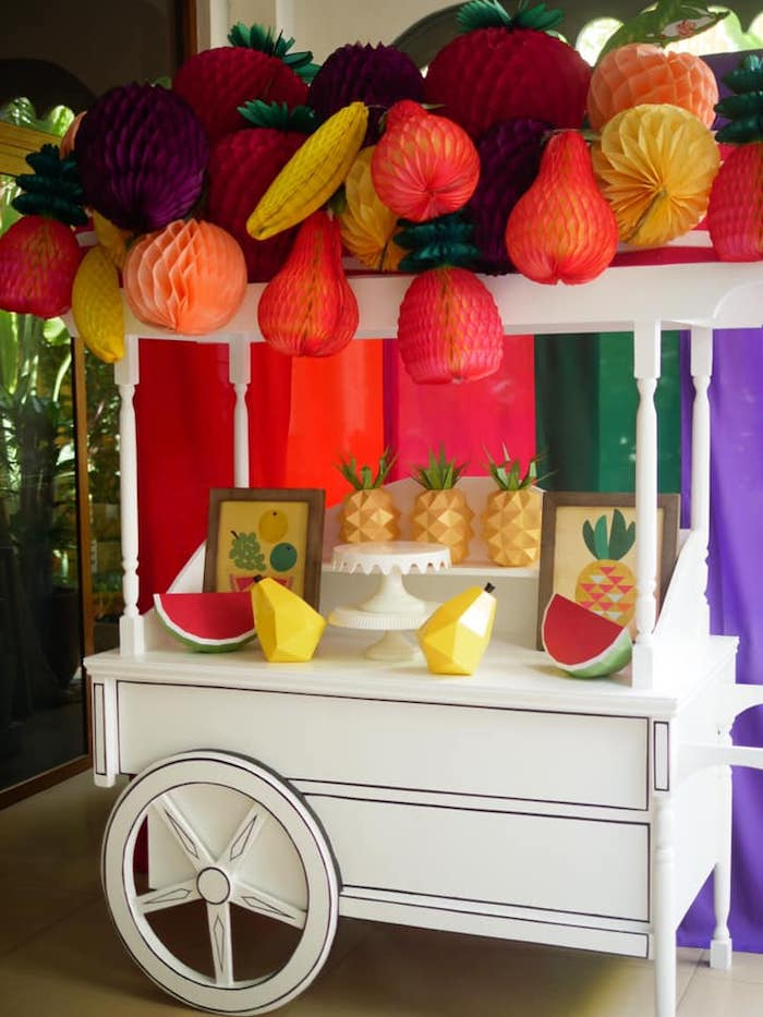 Fruit Themed Dessert Cart from an Origami Tutti Frutti Party on Kara's Party Ideas | KarasPartyIdeas.com (16)