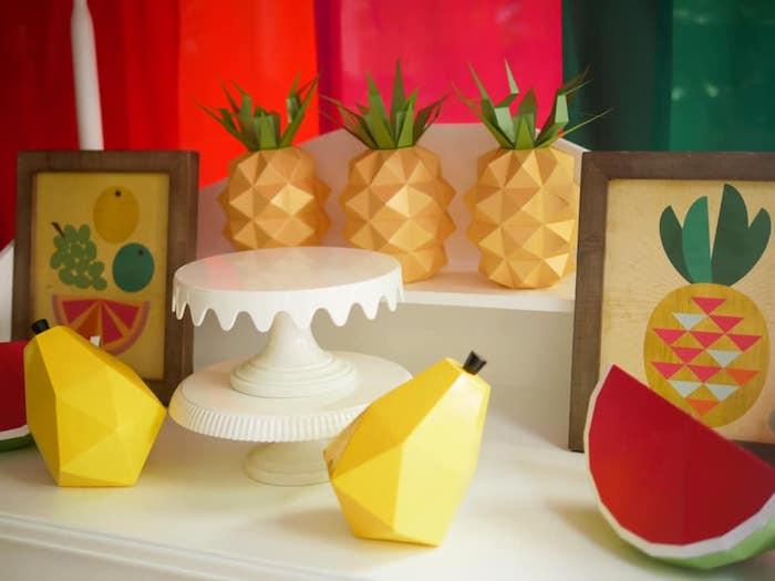 Origami Fruit + Dessert Table Decor from an Origami Tutti Frutti Party on Kara's Party Ideas | KarasPartyIdeas.com (14)