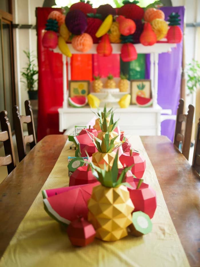 Origami Fruit-lined Guest Table from an Origami Tutti Frutti Party on Kara's Party Ideas | KarasPartyIdeas.com (13)