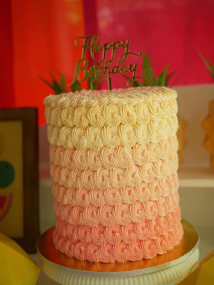Yellow and Orange Ombre Cake from an Origami Tutti Frutti Party on Kara's Party Ideas | KarasPartyIdeas.com (12)
