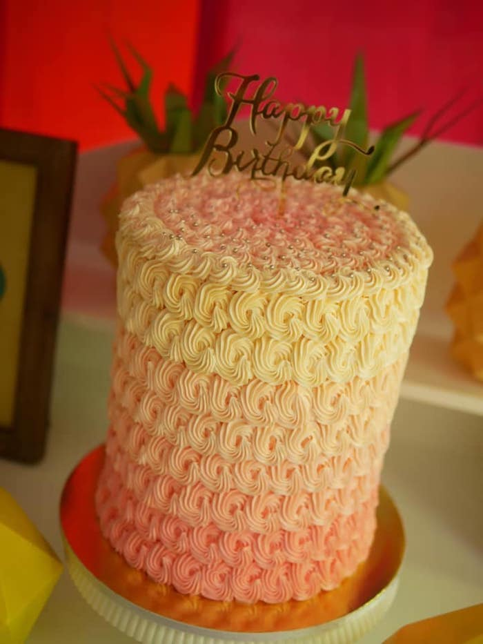Yellow and Orange Ombre Cake from an Origami Tutti Frutti Party on Kara's Party Ideas | KarasPartyIdeas.com (11)