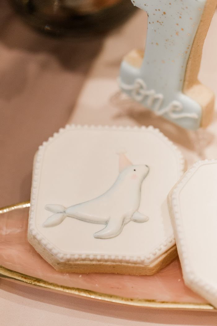 Seal Cookie from a Pastel Party Animal Birthday Party on Kara's Party Ideas | KarasPartyIdeas.com (12)