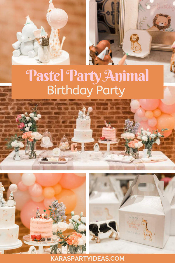 Pastel Party Animal Birthday Party via Kara's Party Ideas - KarasPartyIdeas.com