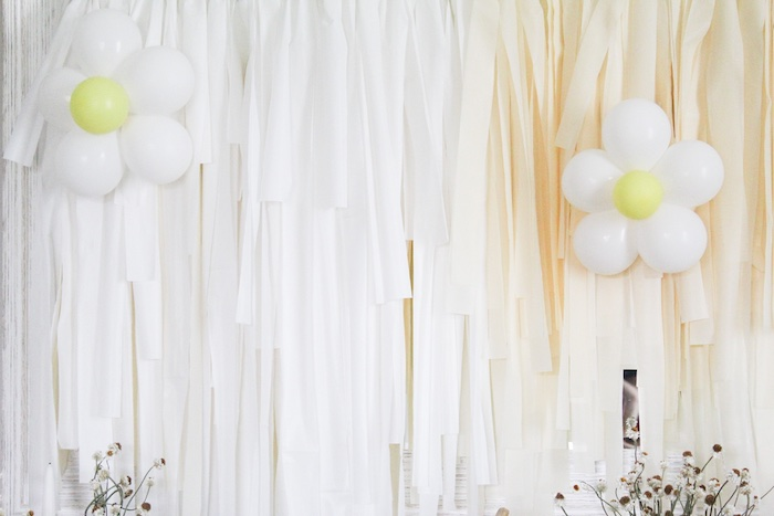 Balloon Daisy and Tassel Backdrop from a Rustic Daisy Garden Party on Kara's Party Ideas | KarasPartyIdeas.com (8)