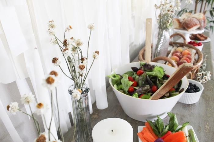 Salad + Food Table from a Rustic Daisy Garden Party on Kara's Party Ideas | KarasPartyIdeas.com (7)