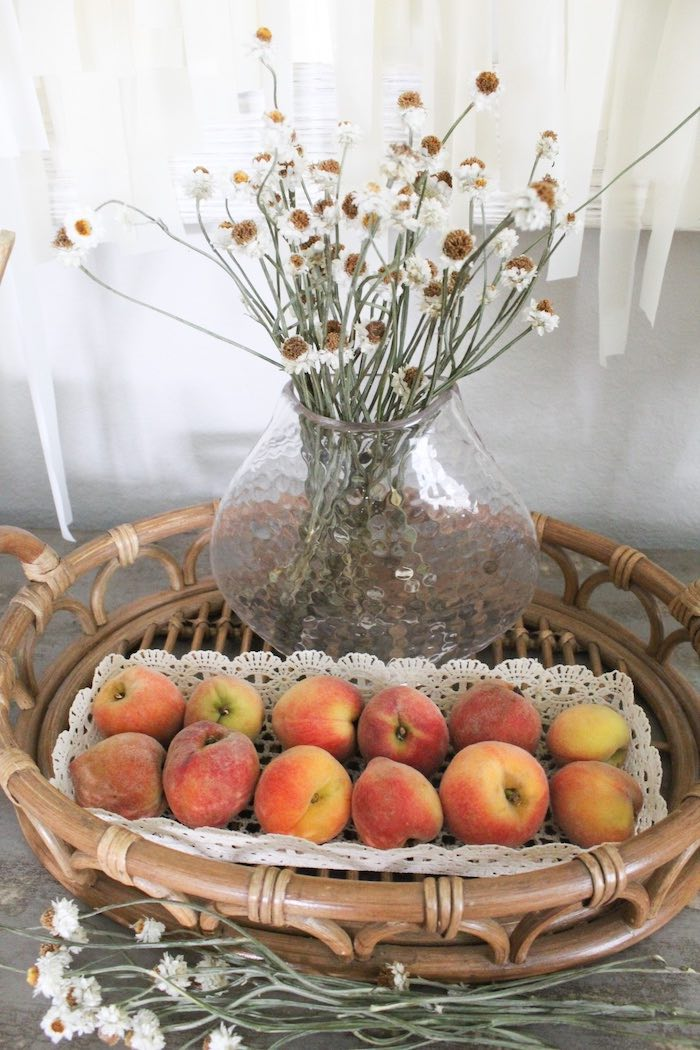 Basket of Peaches from a Rustic Daisy Garden Party on Kara's Party Ideas | KarasPartyIdeas.com (5)