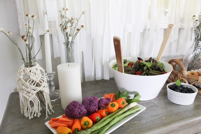 Veggie Tray & Salad from a Rustic Daisy Garden Party on Kara's Party Ideas | KarasPartyIdeas.com (3)