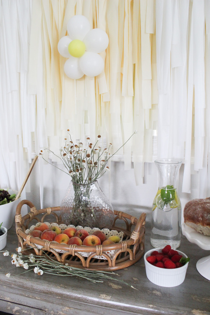 Basket of Peaches from a Rustic Daisy Garden Party on Kara's Party Ideas | KarasPartyIdeas.com (19)