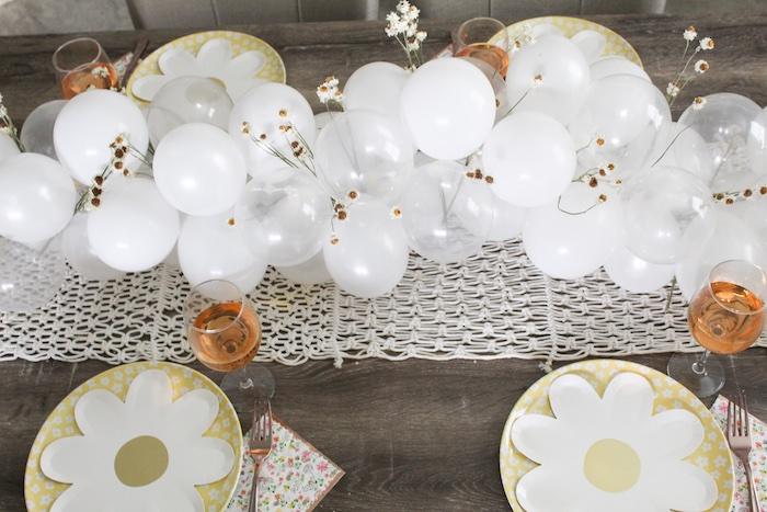 Daisy Themed Guest Table + Balloon Runner from a Rustic Daisy Garden Party on Kara's Party Ideas | KarasPartyIdeas.com (16)
