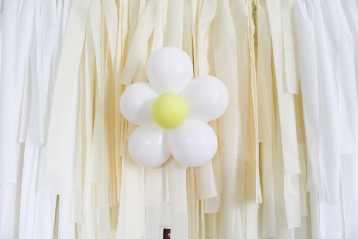 Balloon-crafted Daisy Tassel Backdrop from a Rustic Daisy Garden Party on Kara's Party Ideas | KarasPartyIdeas.com (13)