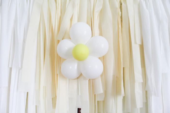 Balloon-crafted Daisy Tassel Backdrop from a Rustic Daisy Garden Party on Kara's Party Ideas | KarasPartyIdeas.com (13)