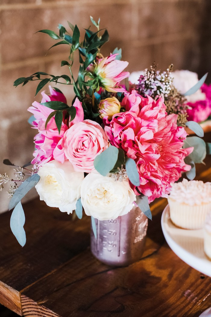 Floral Arrangement from a Rustic Floral Dahlias & Roses Birthday Party on Kara's Party Ideas | KarasPartyIdeas.com (22)