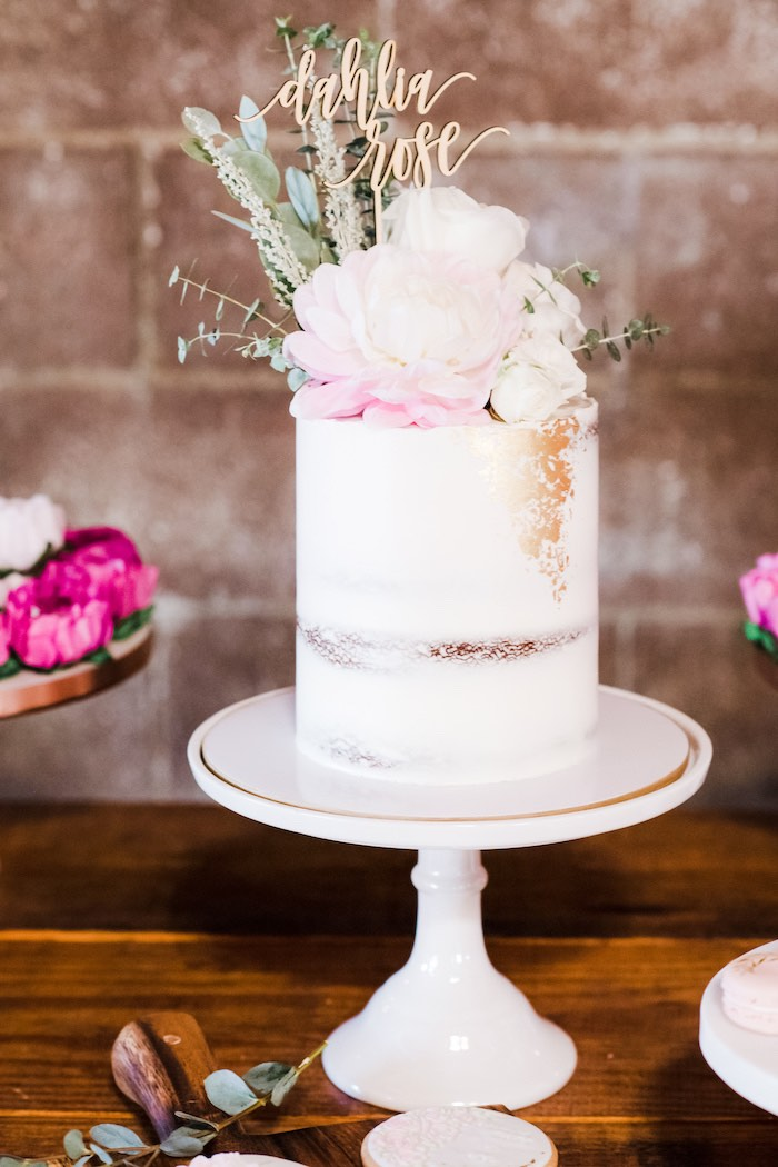Flower-topped Semi-naked Cake from a Rustic Floral Dahlias & Roses Birthday Party on Kara's Party Ideas | KarasPartyIdeas.com (20)
