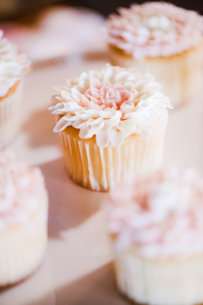 Flower Cupcake from a Rustic Floral Dahlias & Roses Birthday Party on Kara's Party Ideas | KarasPartyIdeas.com (19)