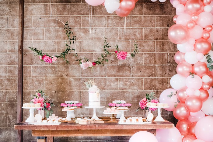 Floral Themed Dessert Table from a Rustic Floral Dahlias & Roses Birthday Party on Kara's Party Ideas | KarasPartyIdeas.com (17)