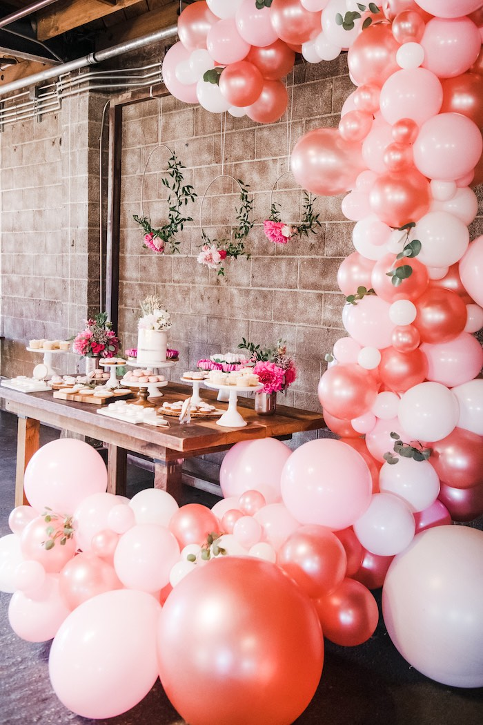 Organic Balloon Garland + Dessert Table from a Rustic Floral Dahlias & Roses Birthday Party on Kara's Party Ideas | KarasPartyIdeas.com (16)