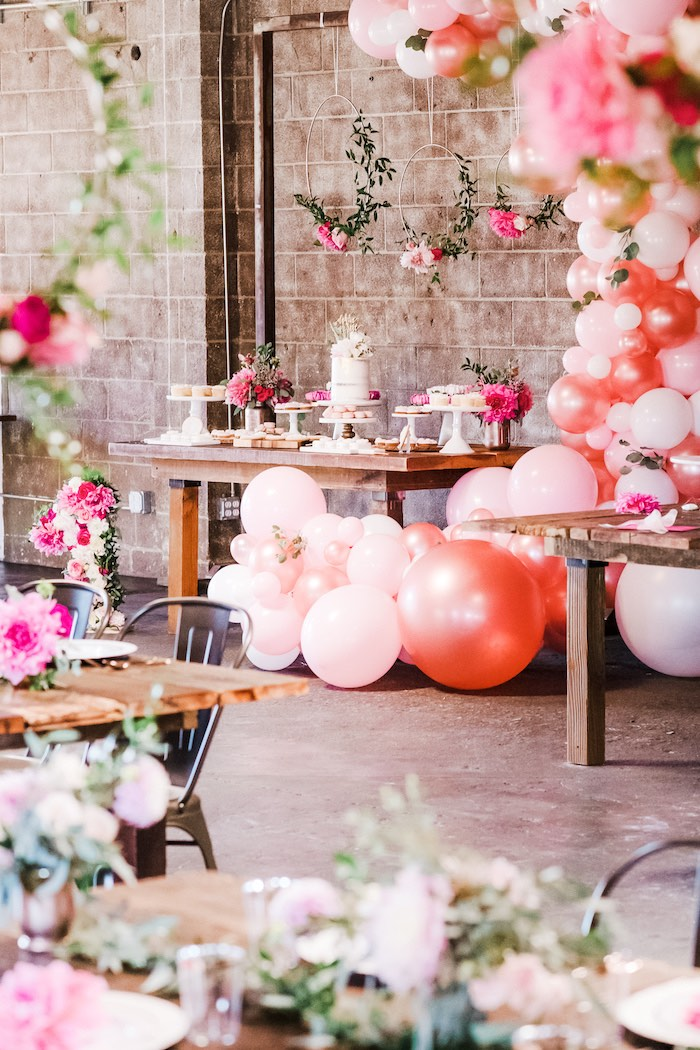 Floral Themed Dessert Table from a Rustic Floral Dahlias & Roses Birthday Party on Kara's Party Ideas | KarasPartyIdeas.com (15)