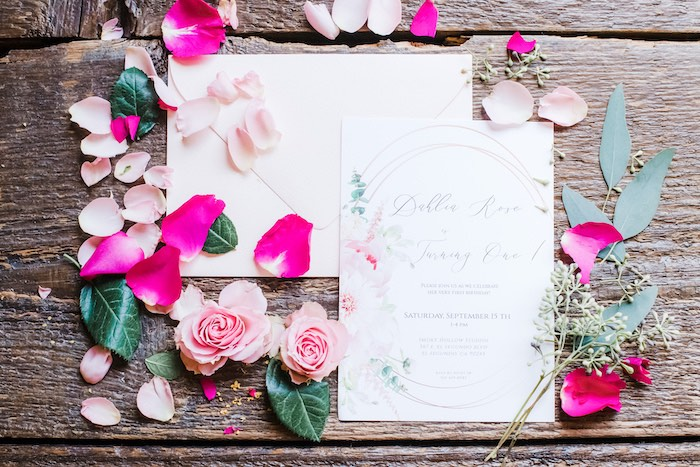 Floral Party Invite from a Rustic Floral Dahlias & Roses Birthday Party on Kara's Party Ideas | KarasPartyIdeas.com (31)