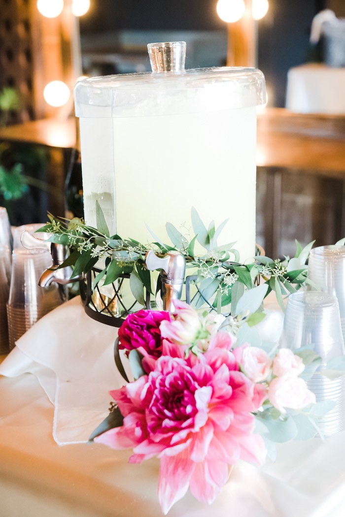 Floral-covered Beverage Dispenser from a Rustic Floral Dahlias & Roses Birthday Party on Kara's Party Ideas | KarasPartyIdeas.com (12)