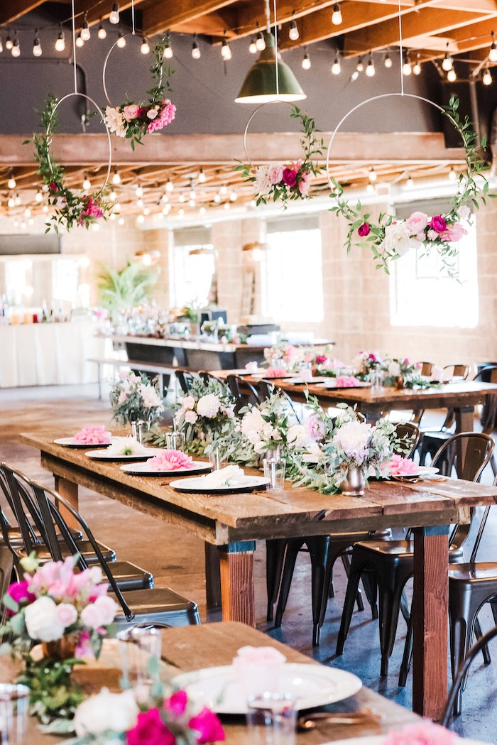 Guest Tables from a Rustic Floral Dahlias & Roses Birthday Party on Kara's Party Ideas | KarasPartyIdeas.com (11)