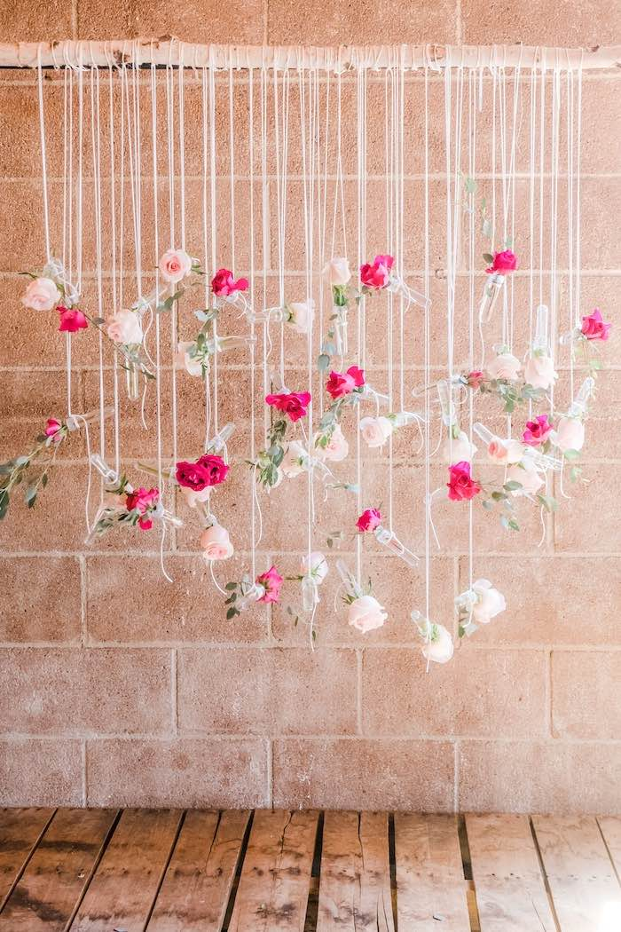 Hanging Floral Photo Backdrop from a Rustic Floral Dahlias & Roses Birthday Party on Kara's Party Ideas | KarasPartyIdeas.com (10)