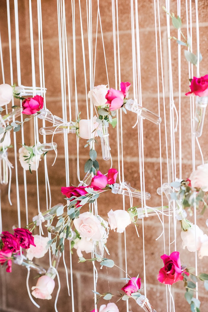 Hanging Floral Photo Backdrop from a Rustic Floral Dahlias & Roses Birthday Party on Kara's Party Ideas | KarasPartyIdeas.com (9)