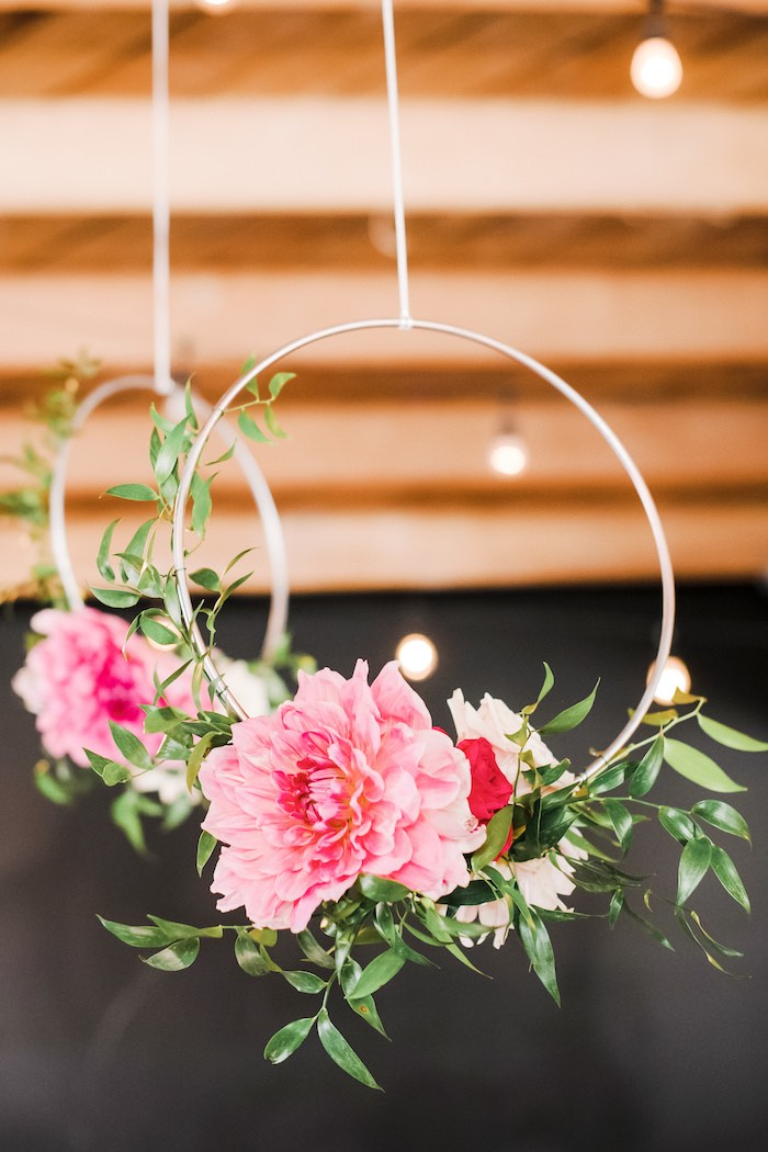 Metal Hoops adorned with Flowers from a Rustic Floral Dahlias & Roses Birthday Party on Kara's Party Ideas | KarasPartyIdeas.com (29)