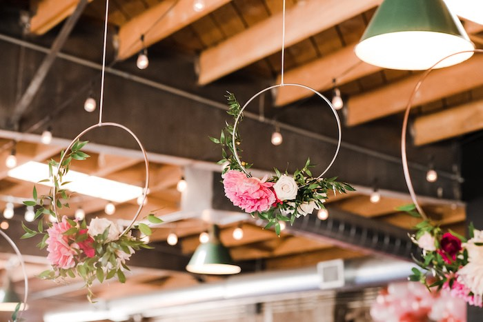 Metal Hoops adorned with Flowers from a Rustic Floral Dahlias & Roses Birthday Party on Kara's Party Ideas | KarasPartyIdeas.com (28)