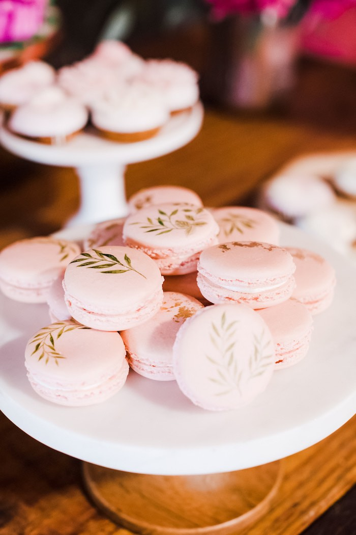 Leaf-adorned Macarons from a Rustic Floral Dahlias & Roses Birthday Party on Kara's Party Ideas | KarasPartyIdeas.com (24)