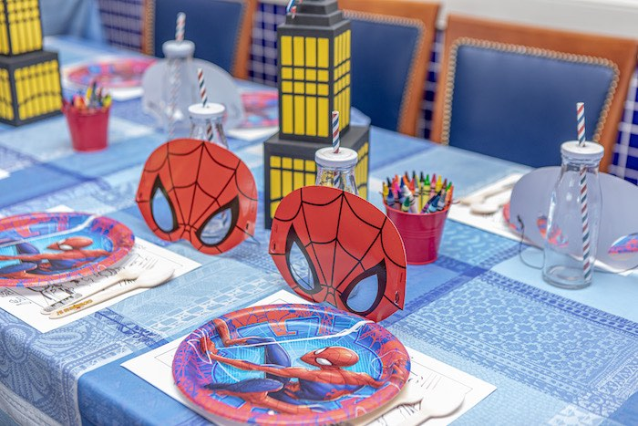 Spiderman Kid Table from a Spiderman Birthday Party on Kara's Party Ideas | KarasPartyIdeas.com (9)