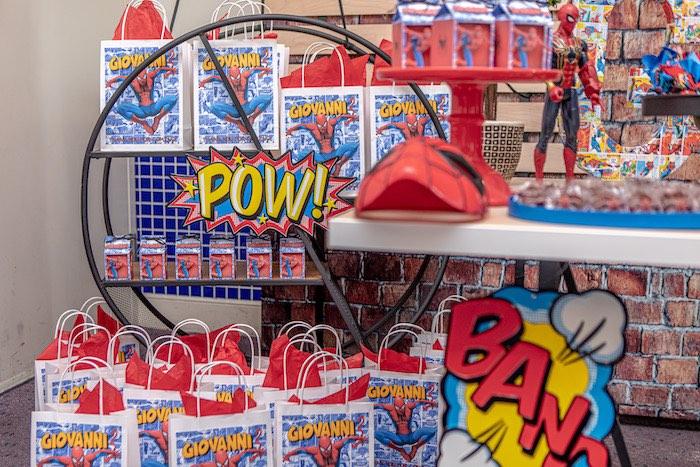 POW - Spiderman Favor Sacks from a Spiderman Birthday Party on Kara's Party Ideas | KarasPartyIdeas.com (8)