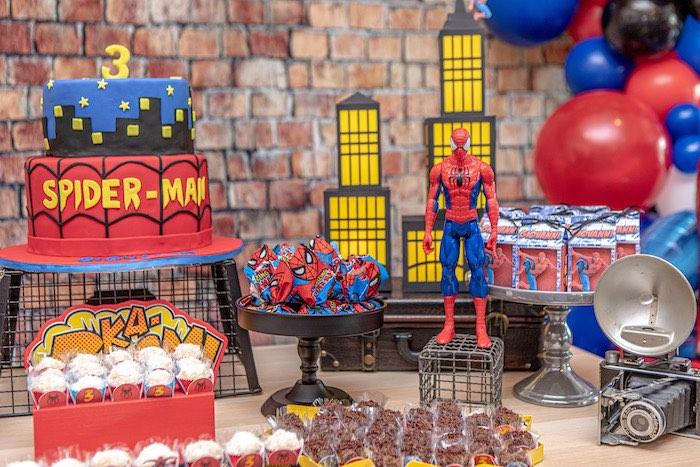 Spiderman Dessert Table from a Spiderman Birthday Party on Kara's Party Ideas | KarasPartyIdeas.com (7)