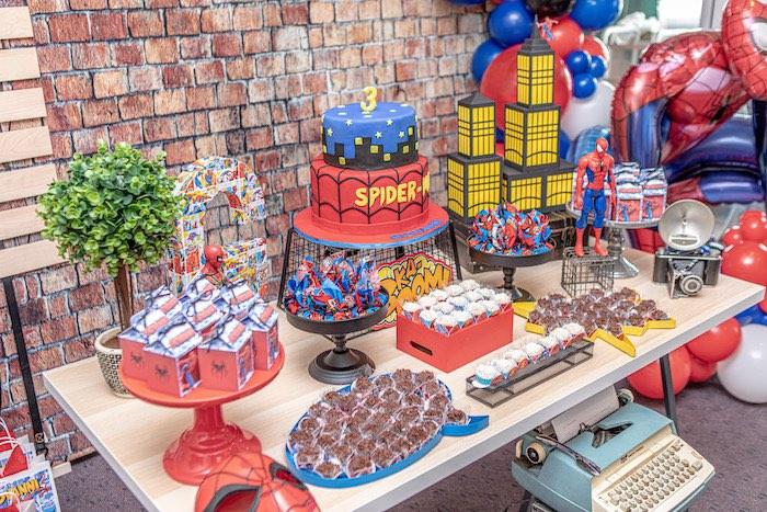 Spiderman Dessert Table from a Spiderman Birthday Party on Kara's Party Ideas | KarasPartyIdeas.com (6)