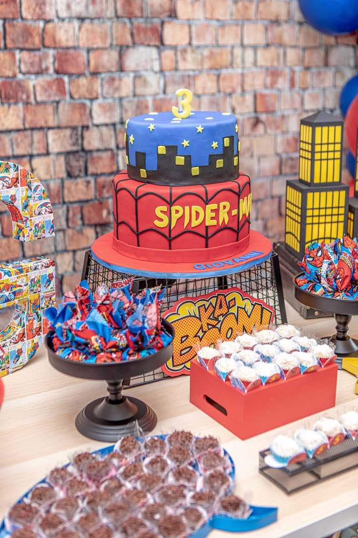 Spiderman Cake from a Spiderman Birthday Party on Kara's Party Ideas | KarasPartyIdeas.com (4)