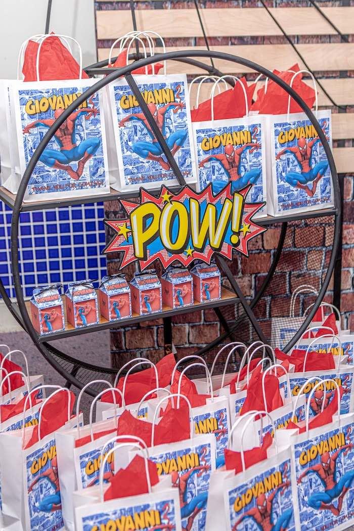 POW Spiderman Favor Sacks from a Spiderman Birthday Party on Kara's Party Ideas | KarasPartyIdeas.com (3)
