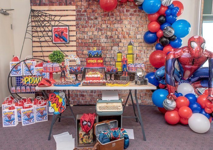 Spiderman Dessert Table from a Spiderman Birthday Party on Kara's Party Ideas | KarasPartyIdeas.com (14)