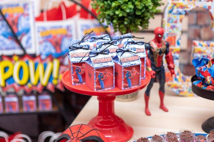 Custom Spiderman Favor Boxes from a Spiderman Birthday Party on Kara's Party Ideas | KarasPartyIdeas.com (13)