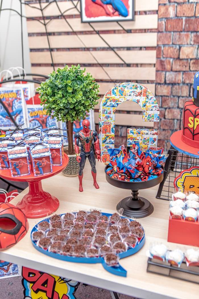 Spiderman Themed Dessert Table from a Spiderman Birthday Party on Kara's Party Ideas | KarasPartyIdeas.com (11)