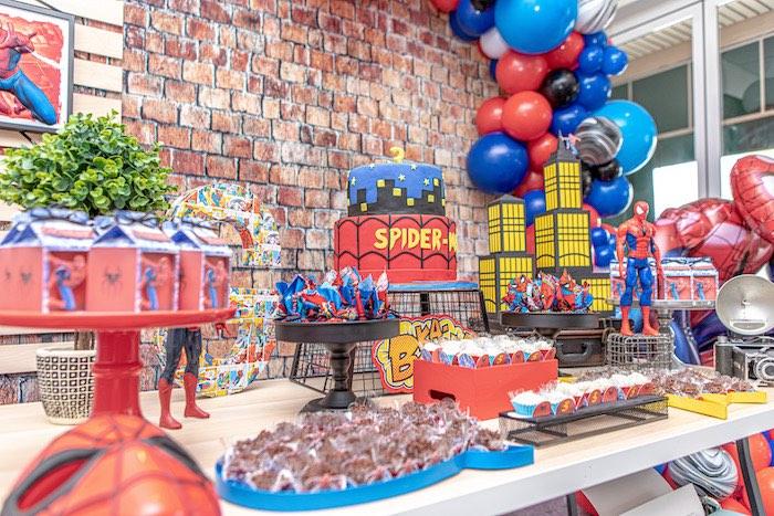 Spiderman Themed Dessert Table from a Spiderman Birthday Party on Kara's Party Ideas | KarasPartyIdeas.com (10)