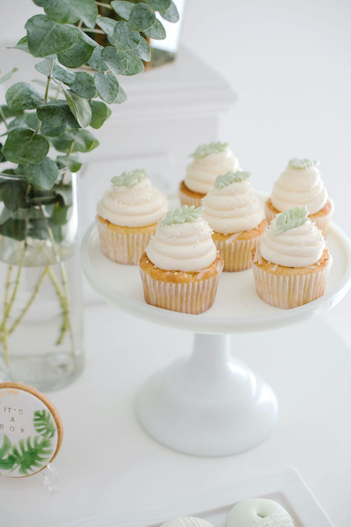 Tropical Leaf-topped Cupcakes from a Tropical Chic Baby Shower on Kara's Party Ideas | KarasPartyIdeas.com (36)