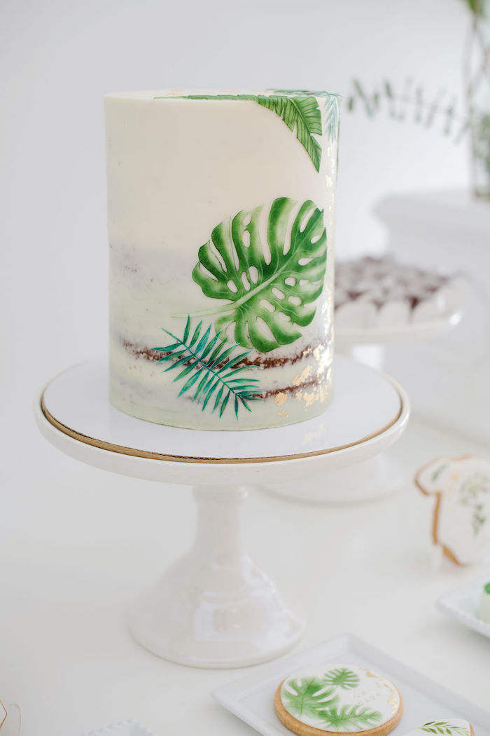 Tropical Leaf Cake from a Tropical Chic Baby Shower on Kara's Party Ideas | KarasPartyIdeas.com (35)