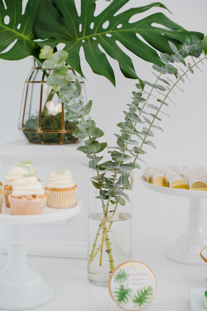 Fresh Greenery from a Tropical Chic Baby Shower on Kara's Party Ideas | KarasPartyIdeas.com (32)